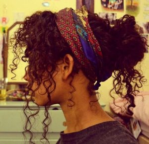 colorful scarf messy curly bun